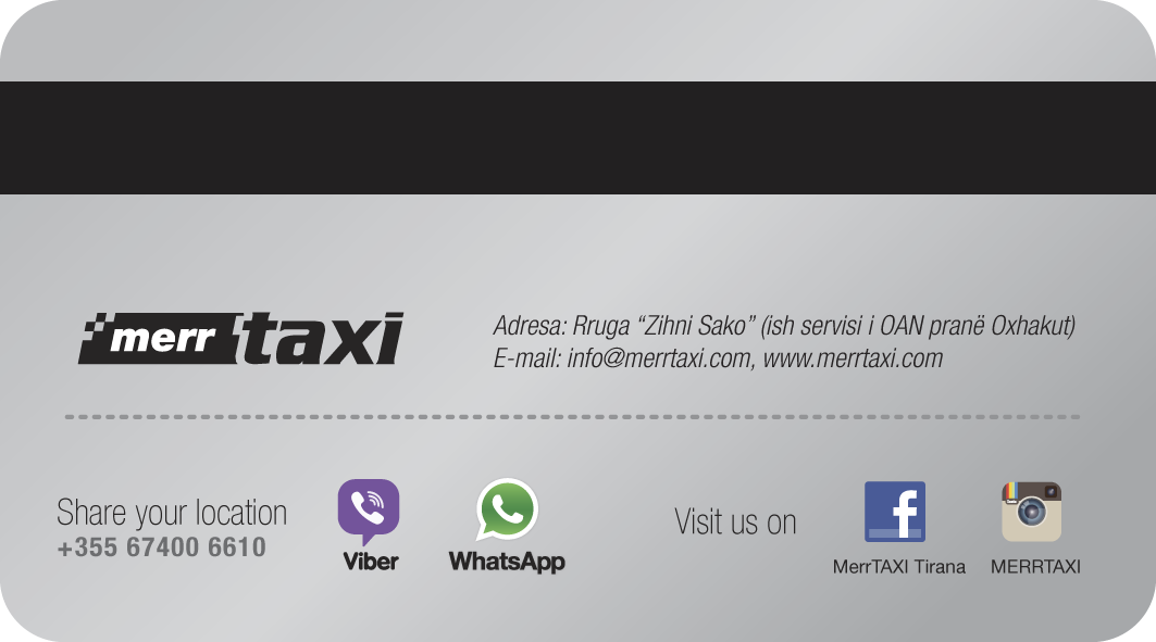 Vip Member Card by Merr Taxi Tirana, back